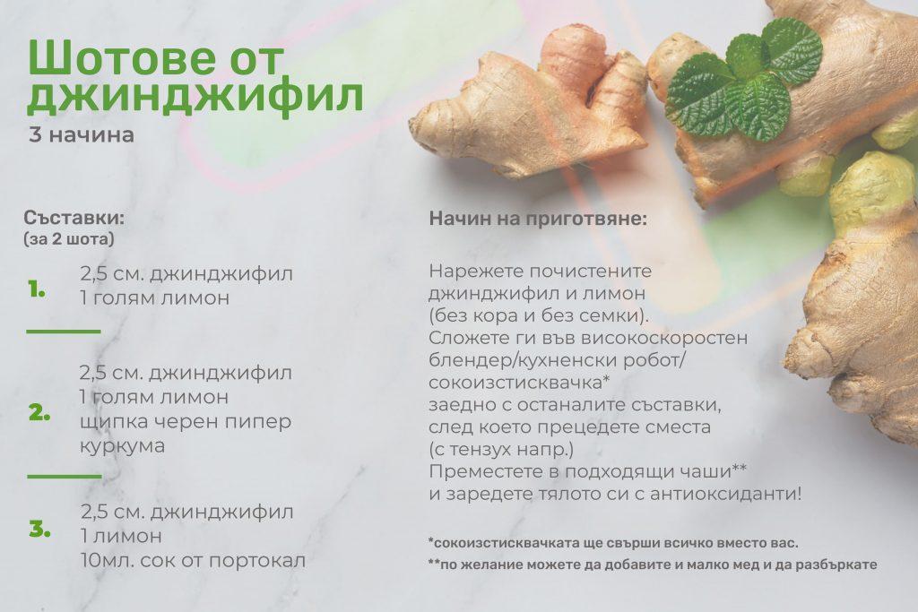 рецепти за шотове от джинджифил
